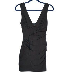 Rouched Body-Con Mini Dress in Black - Sz. Small